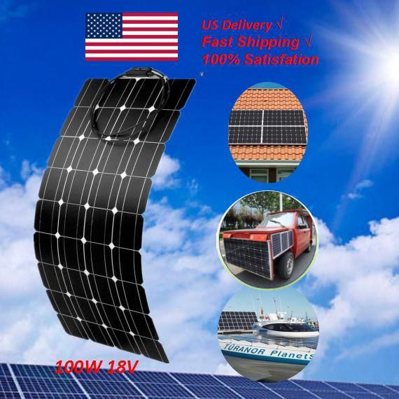 100w 200w 300w Flexible Solar Panel For Rv Car Boat Roof 12v 24v Battery Charger Ebay In 2020 Solar Panels Solar Solar Water