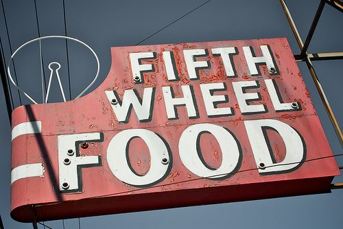 Sign for the Fifth Wheel Food joint in San Leandro, California. This is on San…