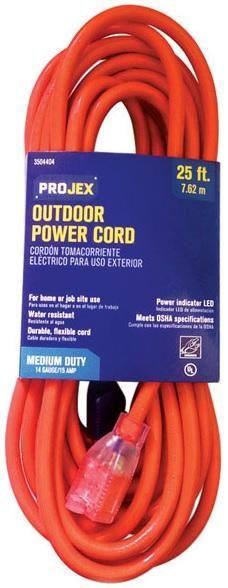 Projex FW-296P Indoor And Outdoor Extension Cord, Orange, 25', 14 Gauge