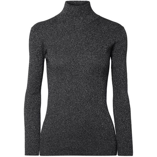 Prada Metallic ribbed wool-blend turtleneck sweater ($770) ❤ liked on Polyvore featuring tops, sweaters, black, ribbed sweater, metallic top, polo neck sweater, prada sweater and rib sweater