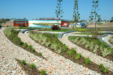 Tennyson Reach - recycled crushed brick and concrete mulch. Via www.scapeshapes.com.au