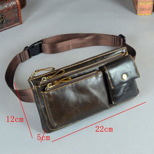 Men Oil Wax Genuine Leather Vintage Hip Belt Fanny Pack Waist Purse Clutch Bag