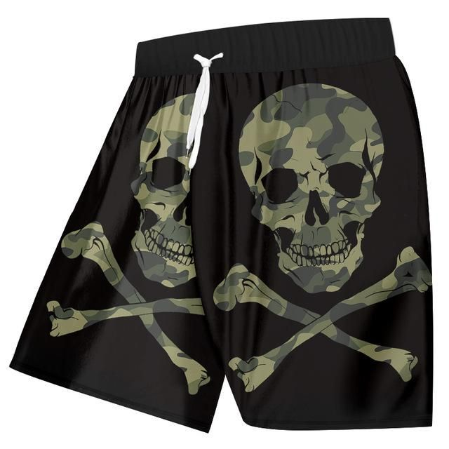 3D Print Camouflage Skull Streetwear Summer Beach Shorts