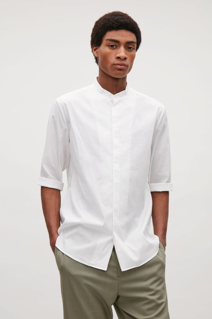 COS image 7 of 3/4 sleeve grandad shirt in White