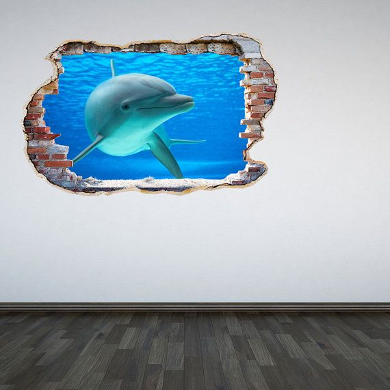 Dolphin Wall Decal Smahed Wall 3D Effect By TheWallStickerComp