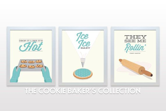 Cookie Kitchen Print Set - Posters wall cooking baking rap lyrics minimal eggshell aqua teal cute retro mid century modern rolling pin icing on Etsy, $45.00