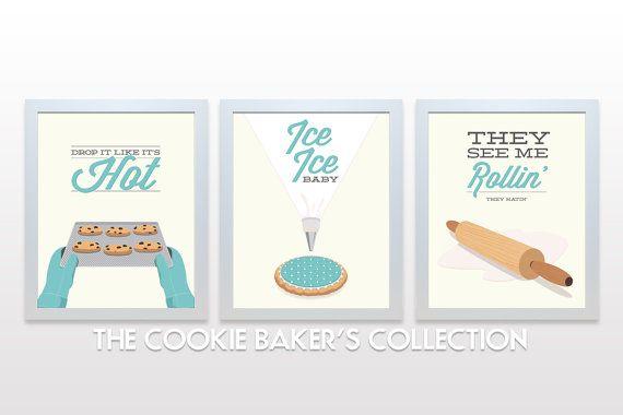 Cookie Kitchen Print Set - Posters wall cooking baking rap lyrics minimal eggshell aqua teal cute retro mid century modern rolling pin icing...