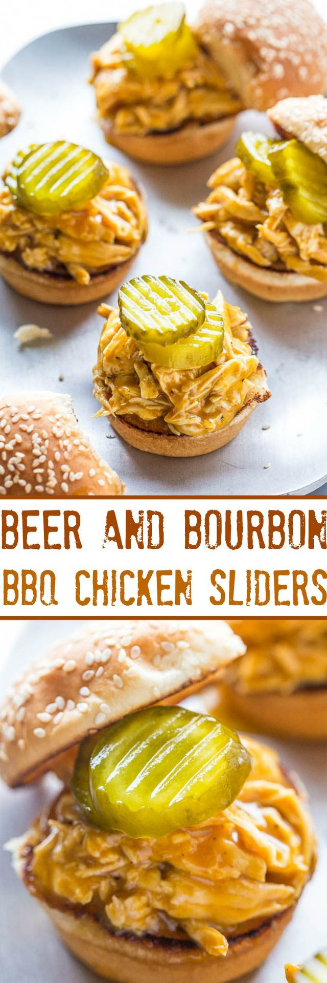 Beer and Bourbon Barbecue Chicken Sliders   Averie Cooks