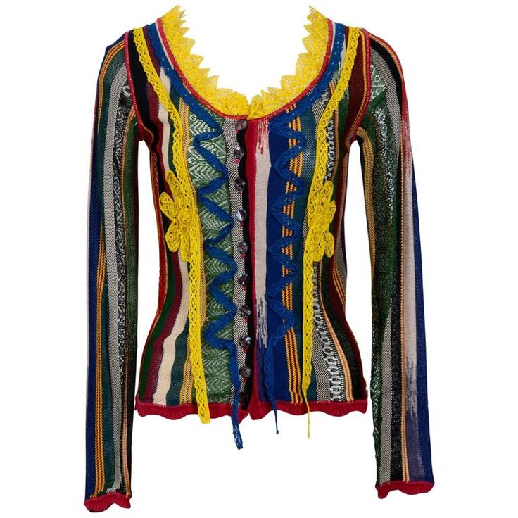 Vintage 90's JEAN PAUL GAULTIER Multi Colour Cardigan | From a collection of rare vintage sweaters at https://www.1stdibs.com/fashion/clothing/sweaters/