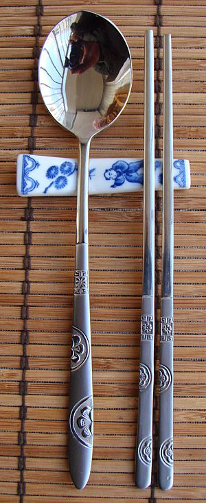 Korean stainless steel chopsticks and spoon set