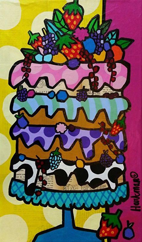 Taart! kleurrijk schilderij, kleurrijke schilderijen, vrolijk schilderij, popart