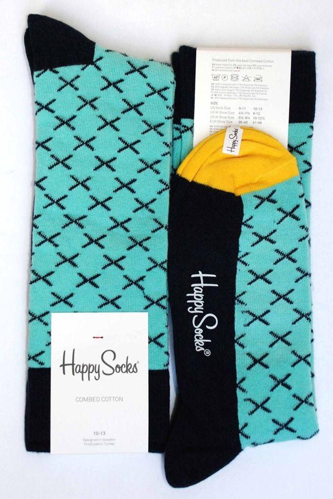 Aqua-Blue Navy X-Pattern Mens Dress Sock - Happy Socks