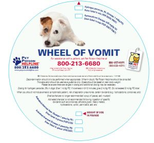 "Get your free ""Wheel of Vomit"", Pet Poison Helpline's handy decontamination wheel shipped to your clinic!"