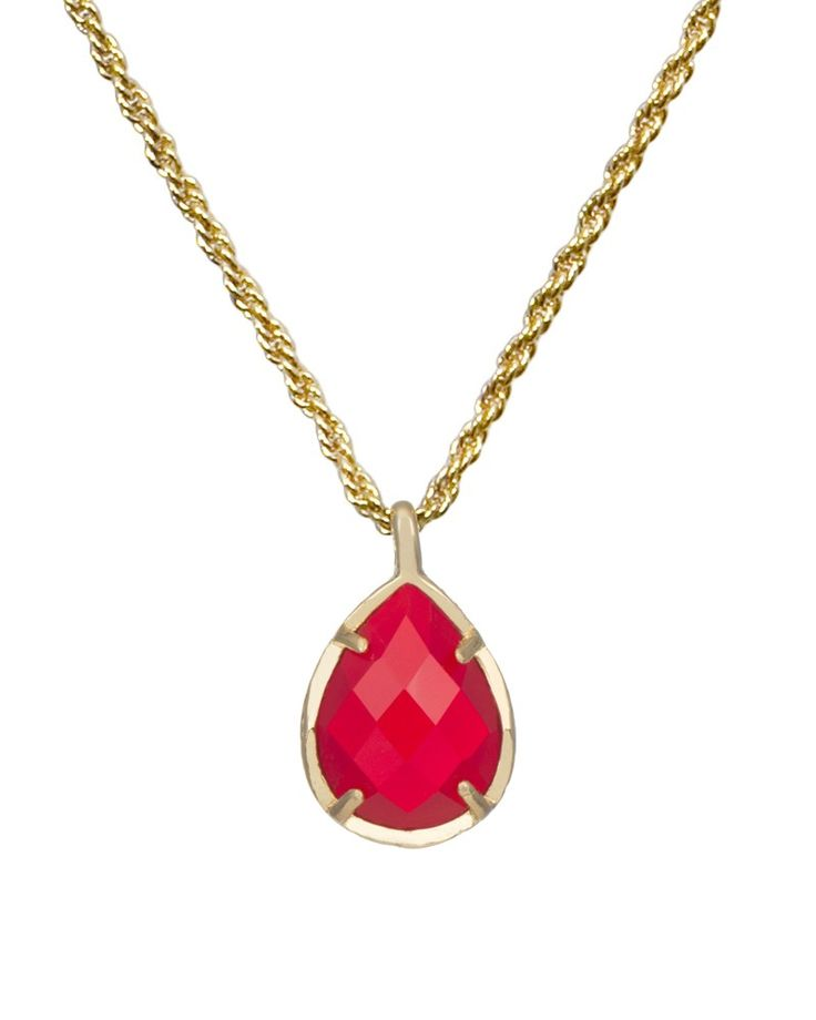 Kiri July Birthstone Necklace in Bright Red