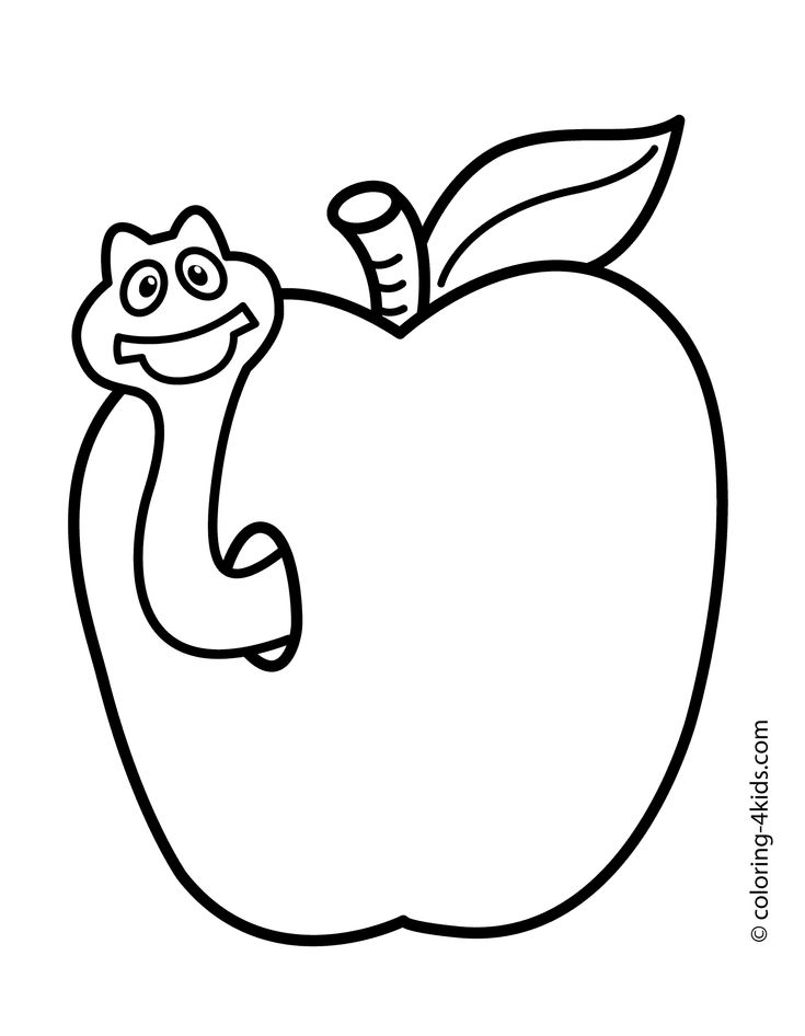 apple with worm fruits coloring pages simple for kids printable free - Fruit Coloring Pages 2