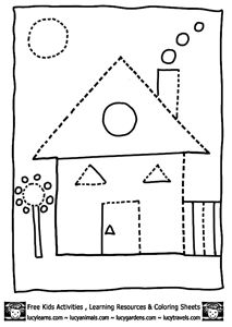 shapes coloring pages house shape