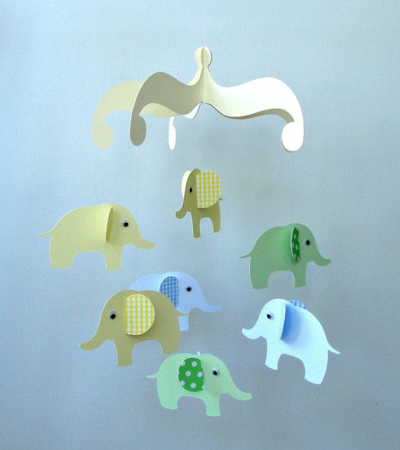 Elephant Baby Mobile/ Hanging Nursery Mobile (holy crap this is cute!)