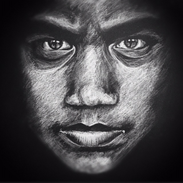 Upside down drawn portrait white charcoal on black paper paper drawingdrawing facesdrawing