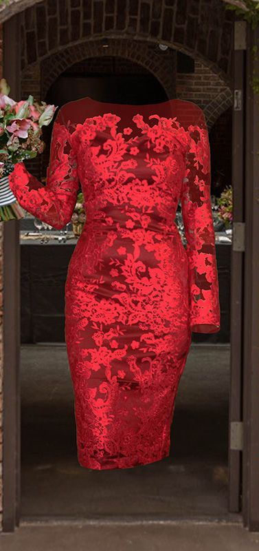 Custom made dress - designed by you at Sui Generis and made to your measurements! Red lace dress with long sleeves and pencil skirt. #style #fashion #wedding #dress #design #red #lace