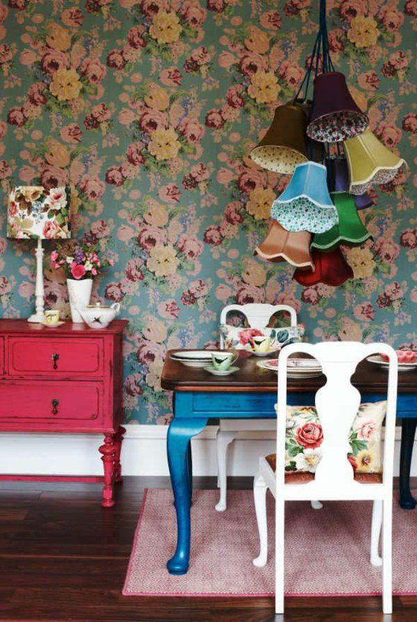 wände gestalten tapete florale motive rosentapete