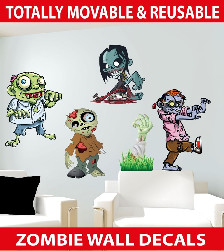 Zombies Wall Stickers - Totally Movable, $8.95 (http://www.wholesaleprinters.com.au/zombies-wall-stickers-totally-movable)