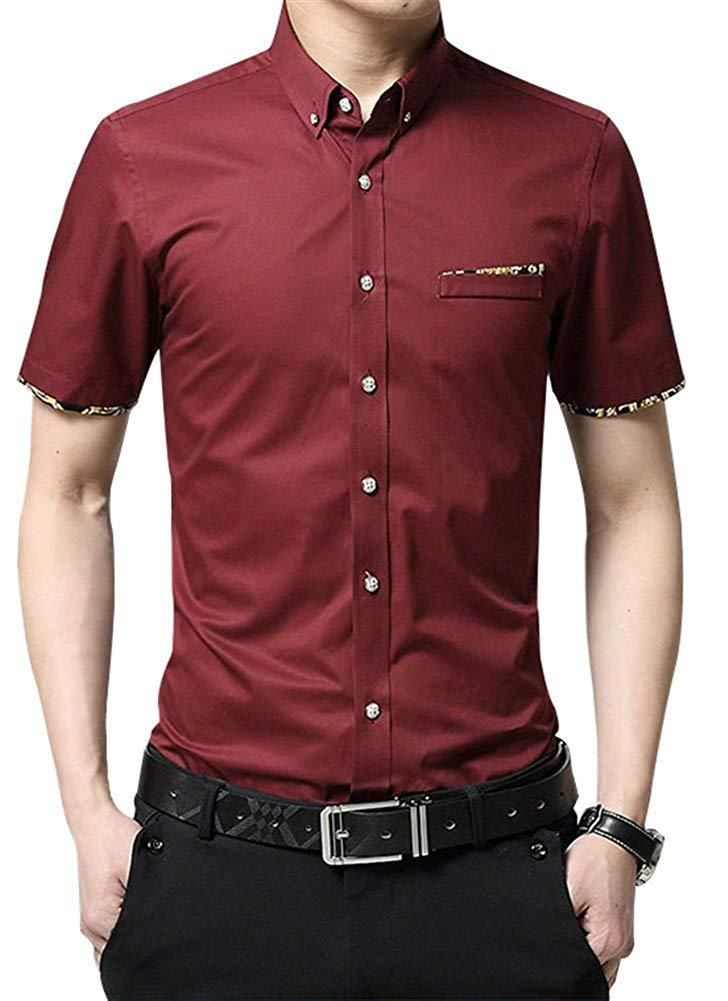 Shirts Fashion Mens Button Up Summer Casual Shirt Short sleeve Business Dress Shirts