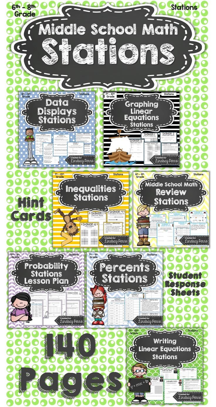 {Best Seller} Stations are not just for Elementary School! Middle school students thrive when given the chance to work together and move about the classroom! Each station includes question sheets, student answer pages and Hint Cards. The 7 stations in this packet are: Middle School Math Review Stations Probability Stations Lesson Plan Data Displays Stations Writing Linear Equations Stations Graphing Linear Equations Stations Inequalities Stations Percents Stations #math
