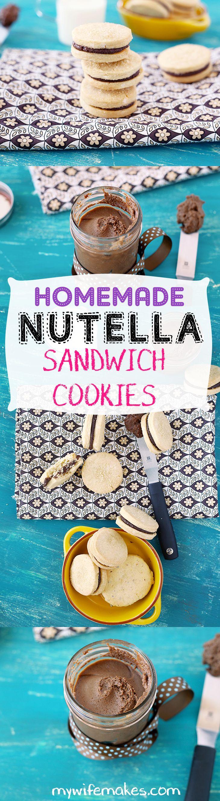 Homemade vegan Nutella sandwich cookies.