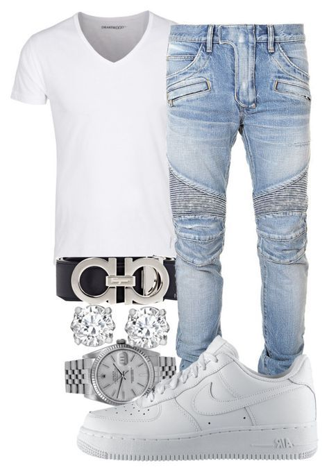 """Sometimes You Juss Gotta Be Clean "" by crenshaw-m4fia ❤ liked on Polyvore featuring Salvatore Ferragamo, Rolex, Balmain, NIKE, Asprey, men's fashion and menswear"