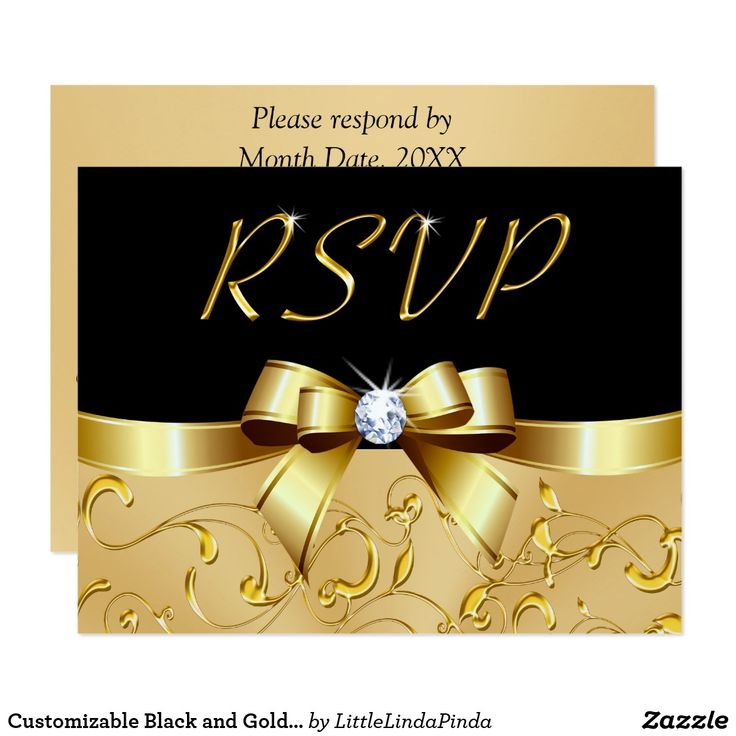 Personalized Black and Gold RSVP Cards with Your Text. CLICK: https://www.zazzle.com/z/o07xe?rf=238147997806552929 CALL Zazzle Designer Linda: 239-949-9090 to create your black and gold party supplies, decorations, 50th wedding anniversary party ideas,  matching or coordinating invitations for your black and gold themed wedding, birthday or 50th anniversary response cards. More HERE: http://www.zazzle.com/littlelindapinda/gifts?cg=196114898786828958&rf=238147997806552929