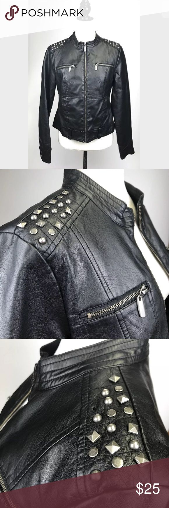"Vegan Leather Studded Black Moto Jacket Large New Look  Womens Vegan Leather Studded Black Biker Rugged Style Moto Jacket Size Large * Missing one stud on shoulder   Measurements all taken laying flat: armpit to armpit - 19"" sleeve length - 25"" length - 22"" Jackets & Coats"