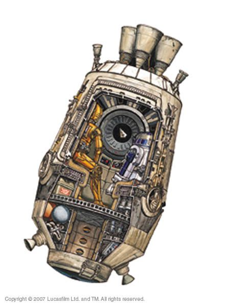 Escape Pod Cutaway - I love how they've included C3PO & R2D2 along with the Star Destroyer in the window