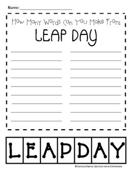 Free!! How many words can you make using the letters in Leap Day?...