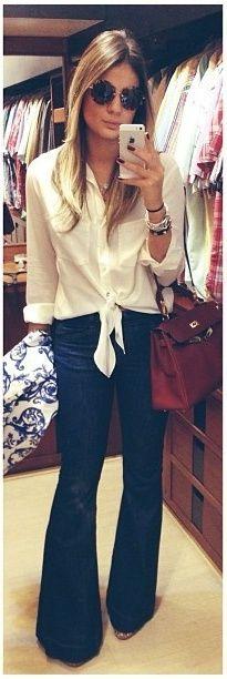 flare + camisa amarrada