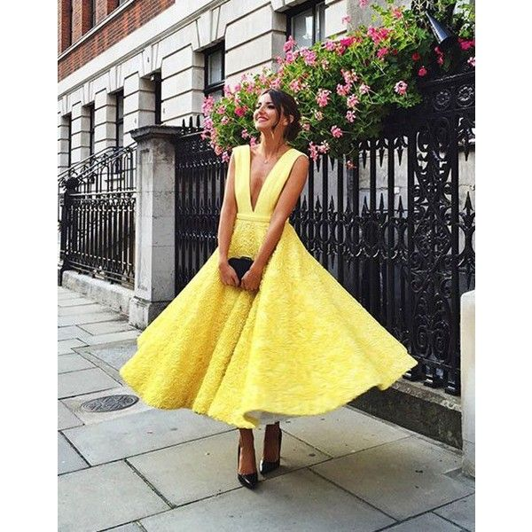 Unique A-Line Deep V-Neck Yellow Tea-Length Lace Homecoming/Prom Dress ❤ liked on Polyvore featuring dresses, lace tea length dress, tea-length dresses, lace homecoming dresses, a line tea length dress and lace dress