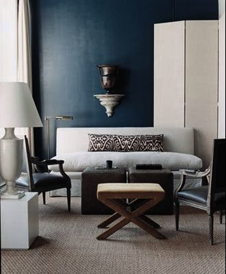 Hague Blue walls, Ikat Cushion & Oriental Lamp