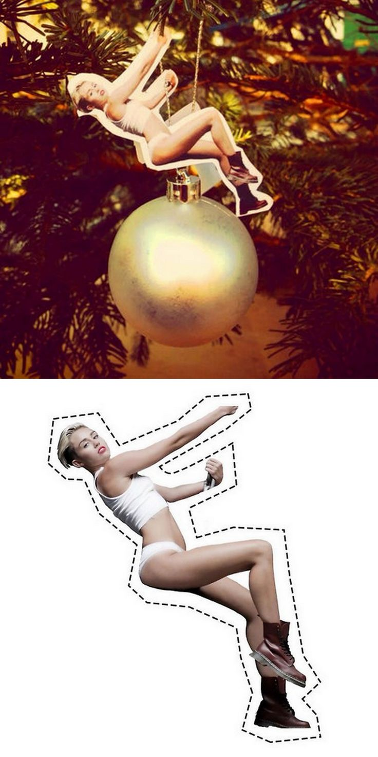 DIY Miley Cyrus Wrecking Ball Christmas Ornament. Hahahah oh my goodness!