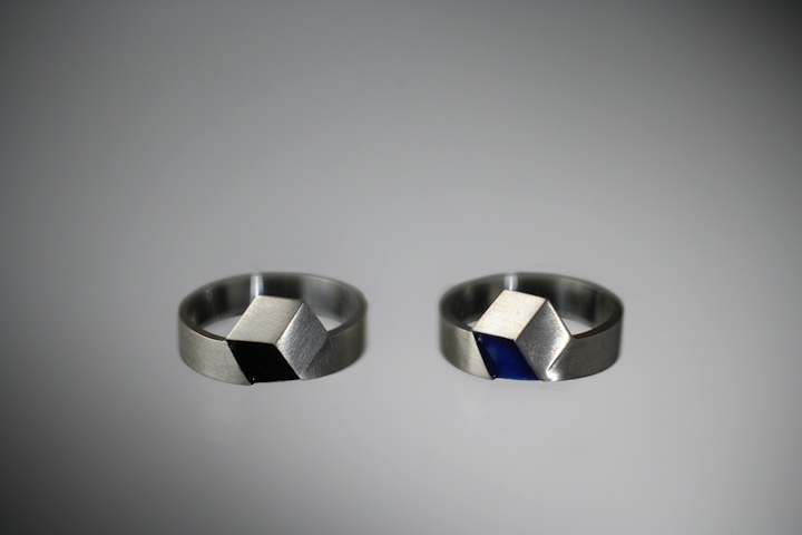 Silver ring with the blue or black glaze  Designer: J.Kučera  $112