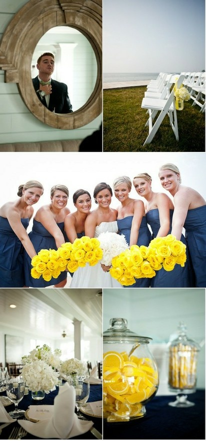 Check out the yellow bouquets and navy dresses!