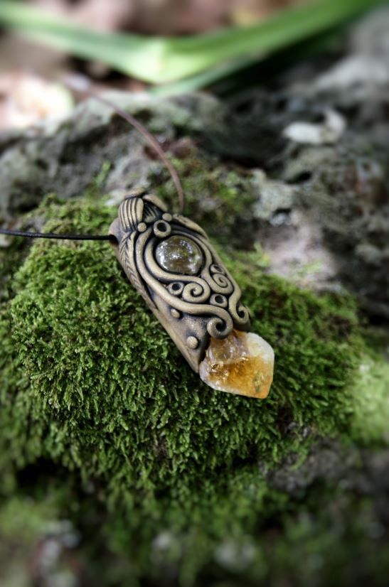 Citrine and Clear Quartz Crystal Pendant Necklace  OOAK by TRaewyn, $70.00