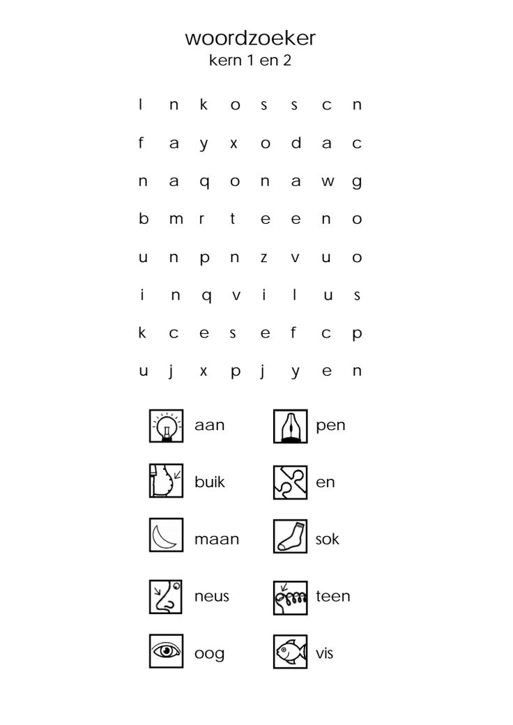 woordzoeker kern 1 en 2