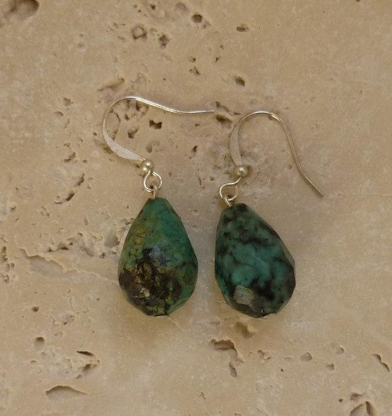 Gorgeous Teardrop Azurite earrings Feminine by ShawlsandtheCity, $21.00