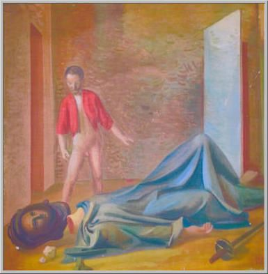 Mario Tozzi 1942: Davide e Golia Olio su Tela cm.49,5x49,5  Collezione Privata Genova  Archivio numero 2362. La lettura del pittore dell'episodio biblico.
