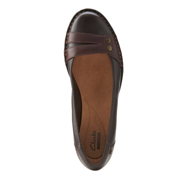Pegg Abbie Brown Leather - Clarks Womens Shoes - Womens Heels and Flats - Clarks - Clarks