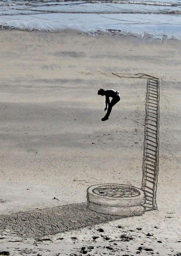 Illusioni ottiche sulla sabbia. Vi lasceranno a bocca aperta. #art #sea