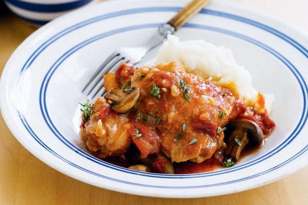 Κοτόπουλο+κοκκινιστό+με+μανιτάρια