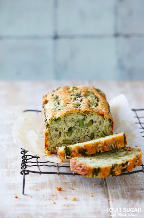 Whole Asparagus + parsley Loaf featured in our new 'I Quit Sugar Healthy Breakfast Cookbook'.