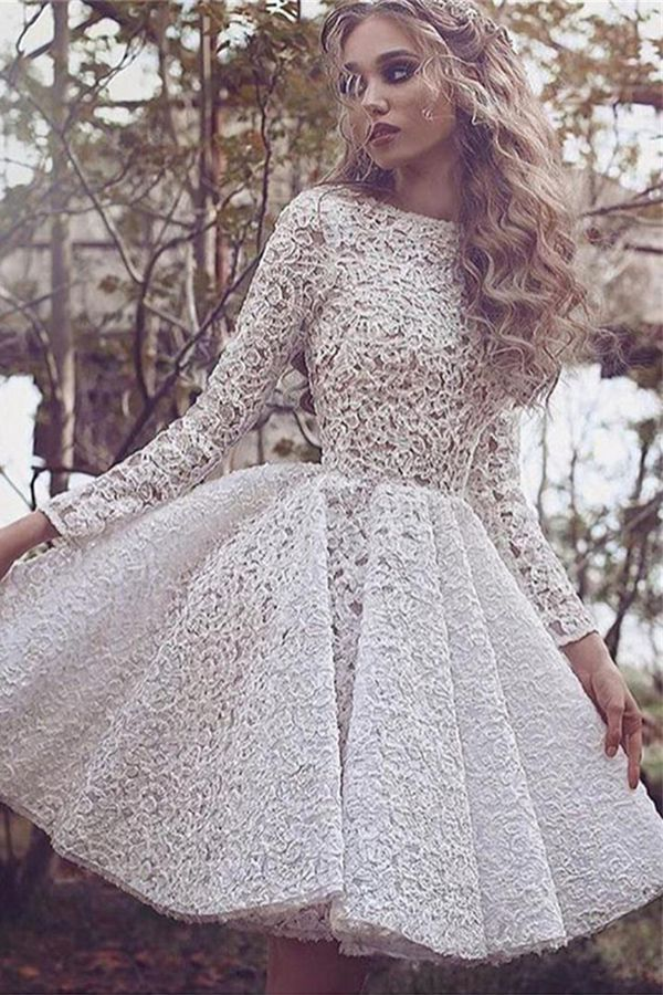A-line Bateau Knee-length Ivory Long Sleeves Lace Prom/Homecoming Dress
