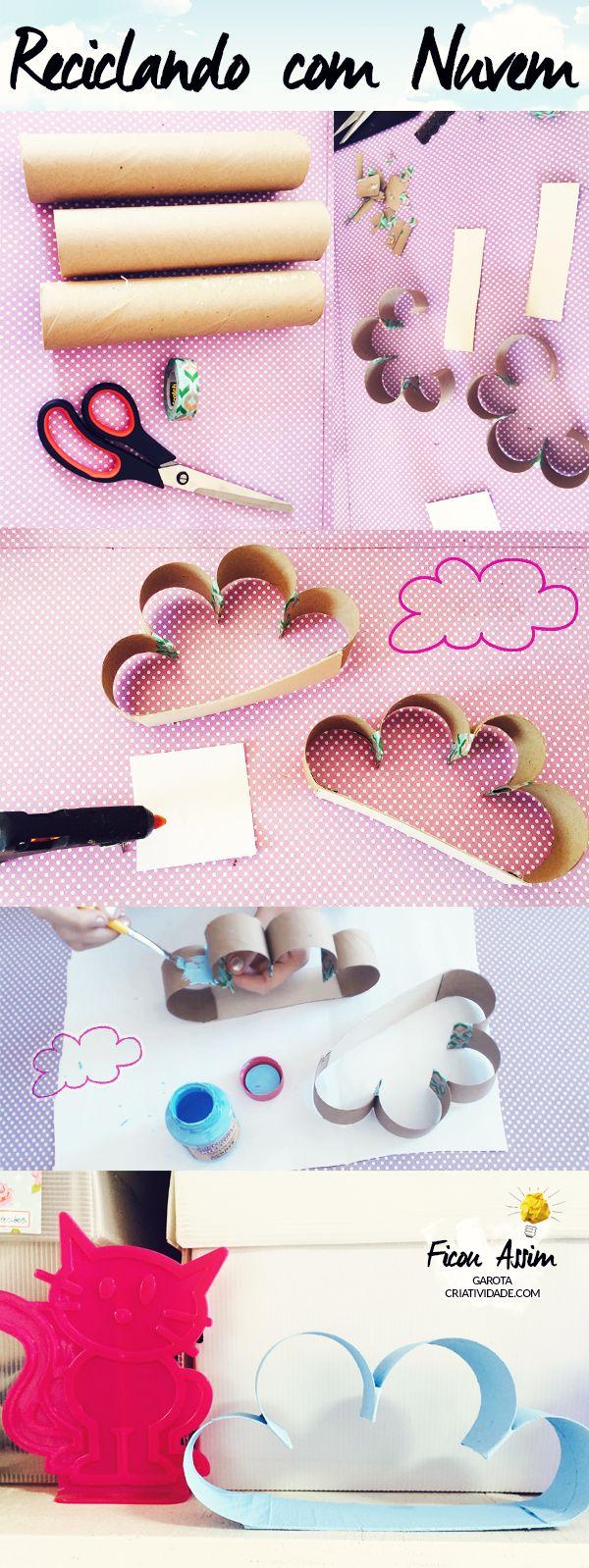 Nuvem de Papelão http://www.garotacriatividade.com/reciclar/  #DIY #reciclagem #recicle #recycle