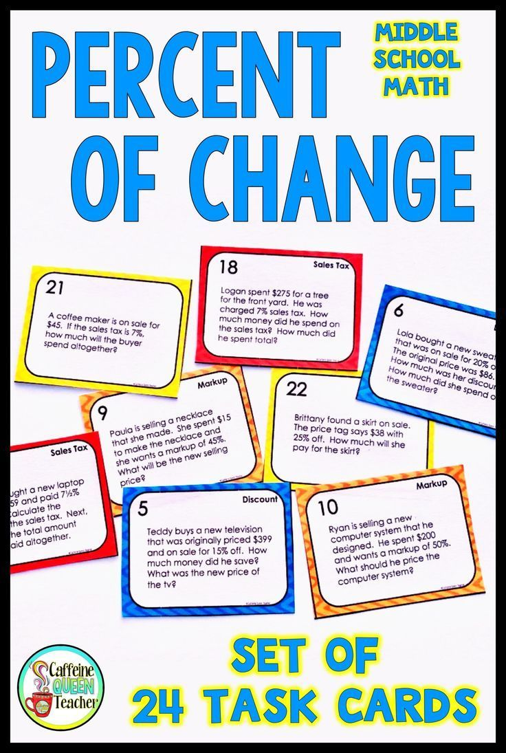 medium resolution of Percent of Change Task Cards with Tips Discount Markup and Sales Tax -  EDITABLE   School motivation